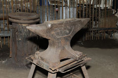 Anvil used by a blacksmith in old shop Royalty Free Stock Photography