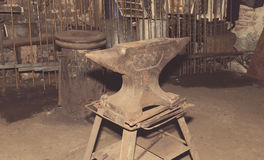 Anvil used by a blacksmith in old shop Royalty Free Stock Images