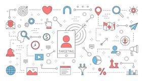 Anvisieren des Konzeptes Idee der Geschäftsmarketingstrategie stock abbildung
