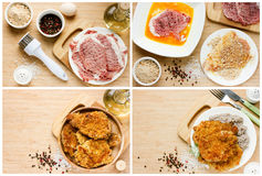 Anvisning för att laga mat klassiska kotletter Fotografering för Bildbyråer
