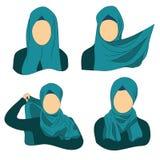 Anvisningar hur man bär den muslimska hijaben Arkivbild