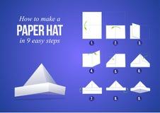 Anvisningar hur man gör en pappers- hatt stock illustrationer