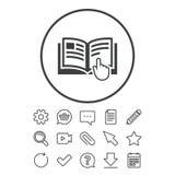 Anvisningsteckensymbol Manuellt boksymbol stock illustrationer