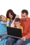 använda för familjbärbar dator Arkivbilder