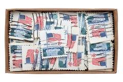 Använda USA-portostämplar Arkivfoton