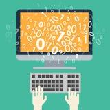 Användare som programmerar kodifiera binär kod Arkivfoton