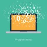 Användare som programmerar kodifiera binär kod på anteckningsboken Royaltyfria Foton