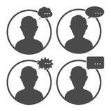 Användareavatarsymbol, tecken, symbol med ett anförande Arkivbild