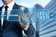 Anwalt w niemieckim prawniku, pomoc, rada ekran sensorowy działa Zdjęcia Royalty Free