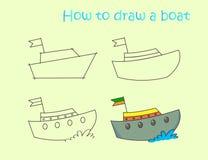 Anweisung, die lustiges buntes Boot zeichnet Stockbild