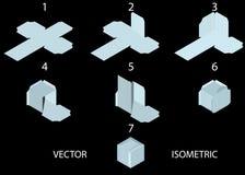 Anweisungen für das Herstellen eines Würfels von einem Blatt Papier Stock Abbildung