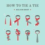 Anweisungen in, wie man eine Bindung auf dem Türkishintergrund der acht Schritte bindet Kelvin-Knoten Auch im corel abgehobenen B Stockfoto