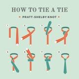 Anweisungen in, wie man eine Bindung auf dem Türkishintergrund der acht Schritte bindet Knoten Pratt-Shelby Auch im corel abgehob Stockfotos