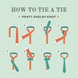 Anweisungen in, wie man eine Bindung auf dem Türkishintergrund der acht Schritte bindet Knoten Pratt-Shelby Auch im corel abgehob Lizenzfreie Stockbilder