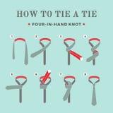 Anweisungen in, wie man eine Bindung auf dem Türkishintergrund der acht Schritte bindet Vier in der Hand Knoten Auch im corel abg Lizenzfreies Stockbild