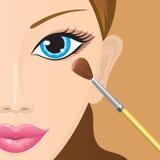 Anwenden der Augenschminke Stockbild