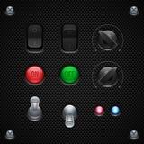 Anwendersoftware-Kontrollen des Kohlenstoff-UI eingestellt Rangierlok, Knopf, Griffe, Lampen Stockfoto