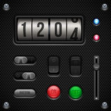 Anwendersoftware-Kontrollen des Kohlenstoff-UI eingestellt Schalter, Griffe, Knopf, Lampe, Volumen, Entzerrer, Zähler stock abbildung
