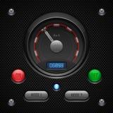 Anwendersoftware-Kontrollen des Kohlenstoff-UI eingestellt Schalter, Knopf, Lampe, Auto, Auto, Speedometr, Tachometer, Indikator, Stockfotografie