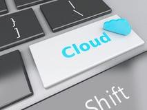 Anwendung der Wolken-3d auf Computertastatur Wolke Datenverarbeitungsconce Stockfoto