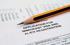 Anwendung für einwanderndes Visum Stockbild