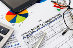 Anwendung für Sozialversicherung Stockbilder