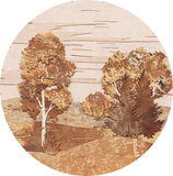 Anwendung: Landschaft mit einer Birke und einem Pelzbaum Lizenzfreies Stockbild