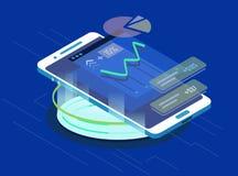 Anwendung mit Diagramm des Wachstums Lizenzfreies Stockfoto