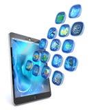 Anwendungen des Digital-Tablette PC 3d Stockbilder