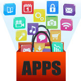 Anwendungen in einer Einkaufstasche Lizenzfreies Stockfoto
