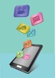 Anwendungs-Ikonen, die aus Handy heraus fliegen Stockbilder