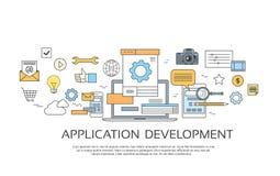 Anwendungsentwicklung schaffen Design-Standort-Programmierungscodesatz-Ikonen-Sammlung Stockfoto