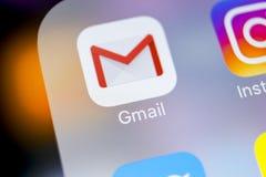 Anwendungsikone Googles Gmail auf Apple-iPhone X Smartphone-Schirmnahaufnahme Gmail APP-Ikone Gmail ist populäres Internet on-lin Stockfoto