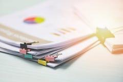 Anwesender Geschäftsbericht Finanz- des Berichtspapierdokuments und mit bunter Büroklammer auf Bürotisch lizenzfreie stockfotos