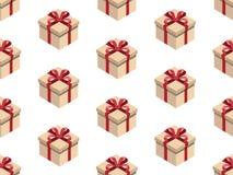 Anwesendes nahtloses Muster Isometrische Geschenkbox Stockfoto