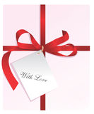 Anwesendes, rotes Farbband, Karte mit Liebe Lizenzfreies Stockbild