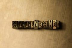 ANWESENHEIT - Nahaufnahme des grungy Weinlese gesetzten Wortes auf Metallhintergrund stock abbildung