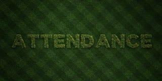 ANWESENHEIT - neue Grasbuchstaben mit Blumen und Löwenzahn - 3D übertrug freies Archivbild der Abgabe stock abbildung