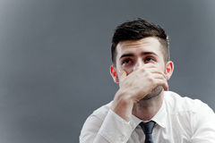 Anxiety. Concept with worried man thinking and looking up royalty free stock photo