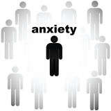Anxiety. Concept illustration showing a person being surrounded by other people and being anxious about it stock illustration