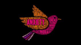 Anxiety Animated Word Cloud. On a black background royalty free illustration