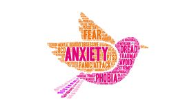 Anxiety Animated Word Cloud. On a white background vector illustration