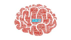 Anxiety animated word cloud. On a white background stock footage