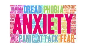 Anxiety Animated Word Cloud. On a white background royalty free illustration