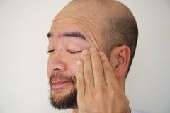 Anxiety Asia beard bald man Stock Photos