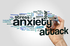 Anxiety attack word cloud concept on grey background.  Royalty Free Stock Images