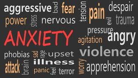Anxiety concept word cloud on a black background.  vector illustration
