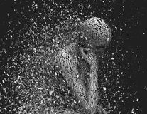Anxiety, despair and depression idea with shattered woman. Anxiety, despair and depression idea with shattered woman body and face 3D rendering royalty free illustration