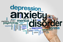 Anxiety disorder word cloud concept on grey background.  stock photo
