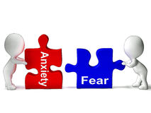 Anxiety Fear Puzzle Means Anxious Or Afraid. Anxiety Fear Puzzle Meaning Anxious Or Afraid vector illustration